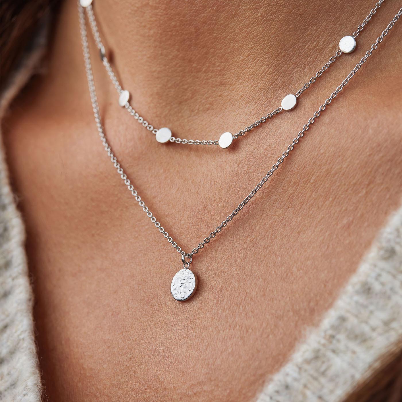 Violet Hamden Luna 925 Sterling Silver Full Moon Hammered Necklace