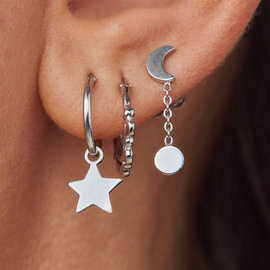 Violet Hamden Luna 925 Sterling Silver Gold colored Cycle of Luna Earrings