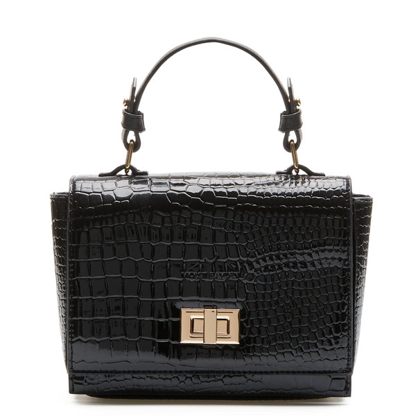 Violet Hamden Evening Star croco sort crossbody taske