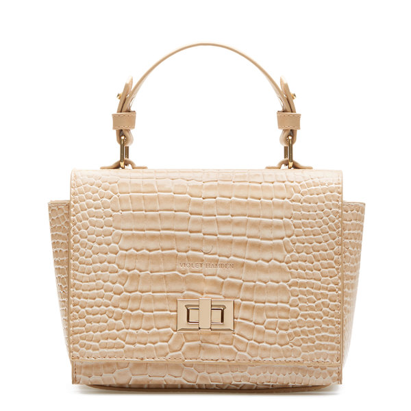 Violet Hamden Evening Star croco beige crossbody taske