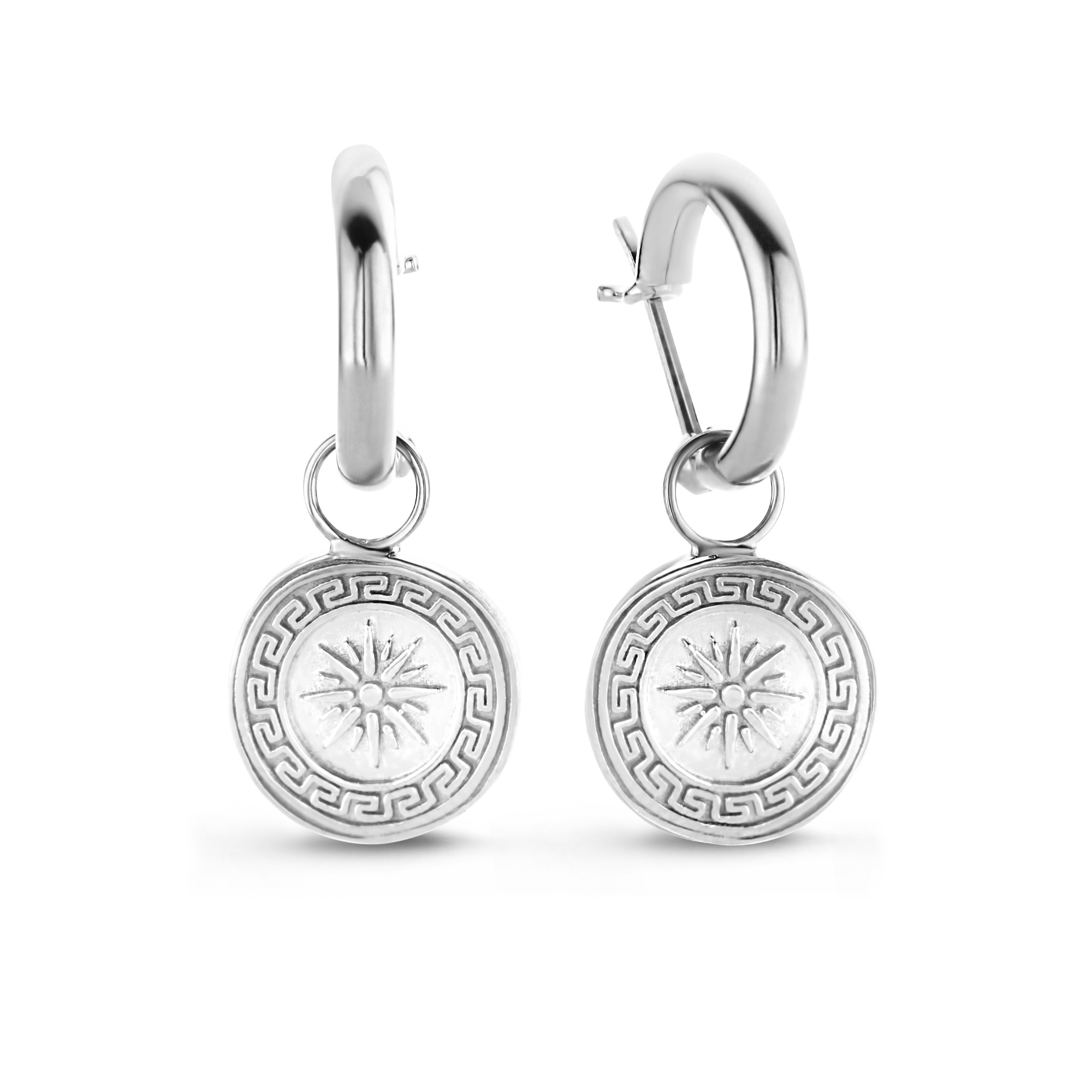 Violet Hamden Athens 925 sterling silver hoop earrings with coins