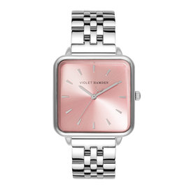 Violet Hamden Dawn square ladies watch silver colored and pink