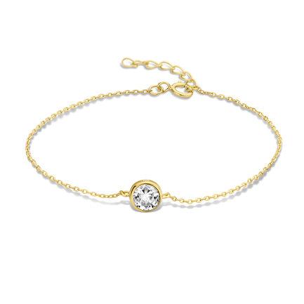 Violet Hamden Venus 925 sterling silver gold coloured bracelet with birthstone