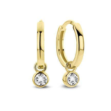 Violet Hamden Venus 925 sterling silver gold coloured hoop earrings with birthstone