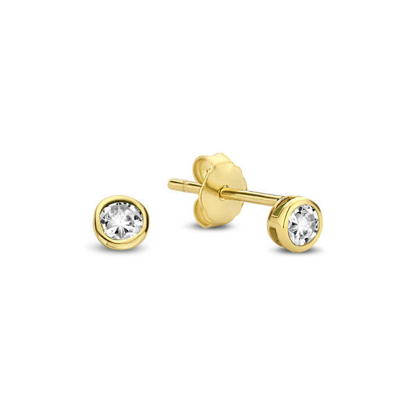 Violet Hamden Venus 925 sterling silver gold colored ear studs with birthstone