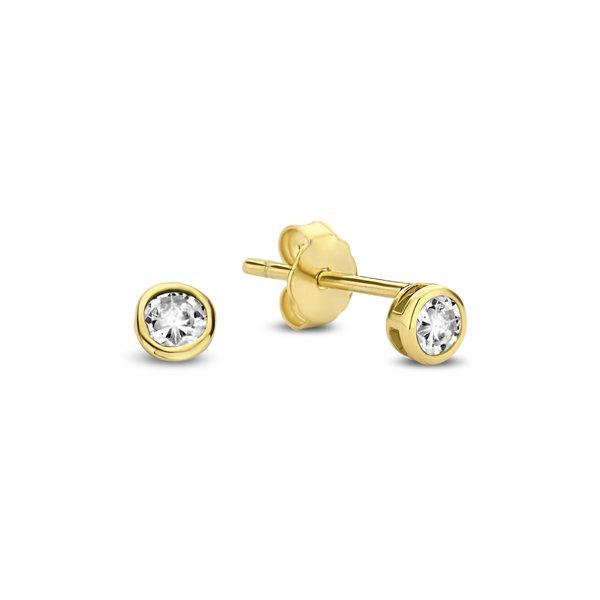 Violet Hamden Venus 925 sterling sølv guldfarvet ørestikker med fødselssten
