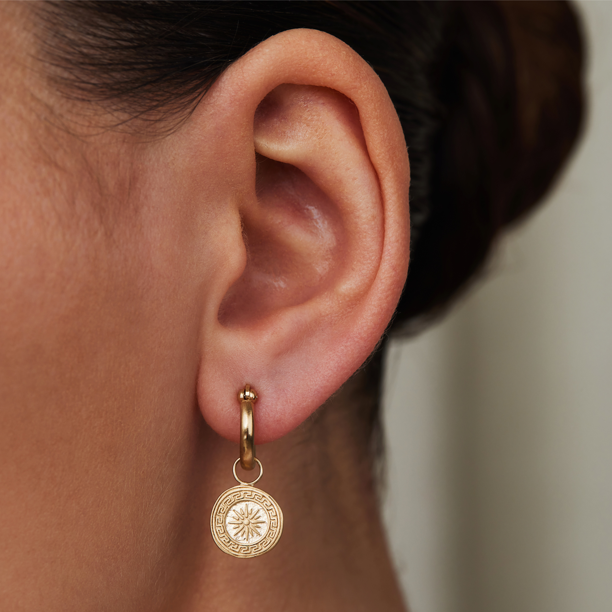 Violet Hamden Athens 925 sterling silver gold colored hoop earrings with coins
