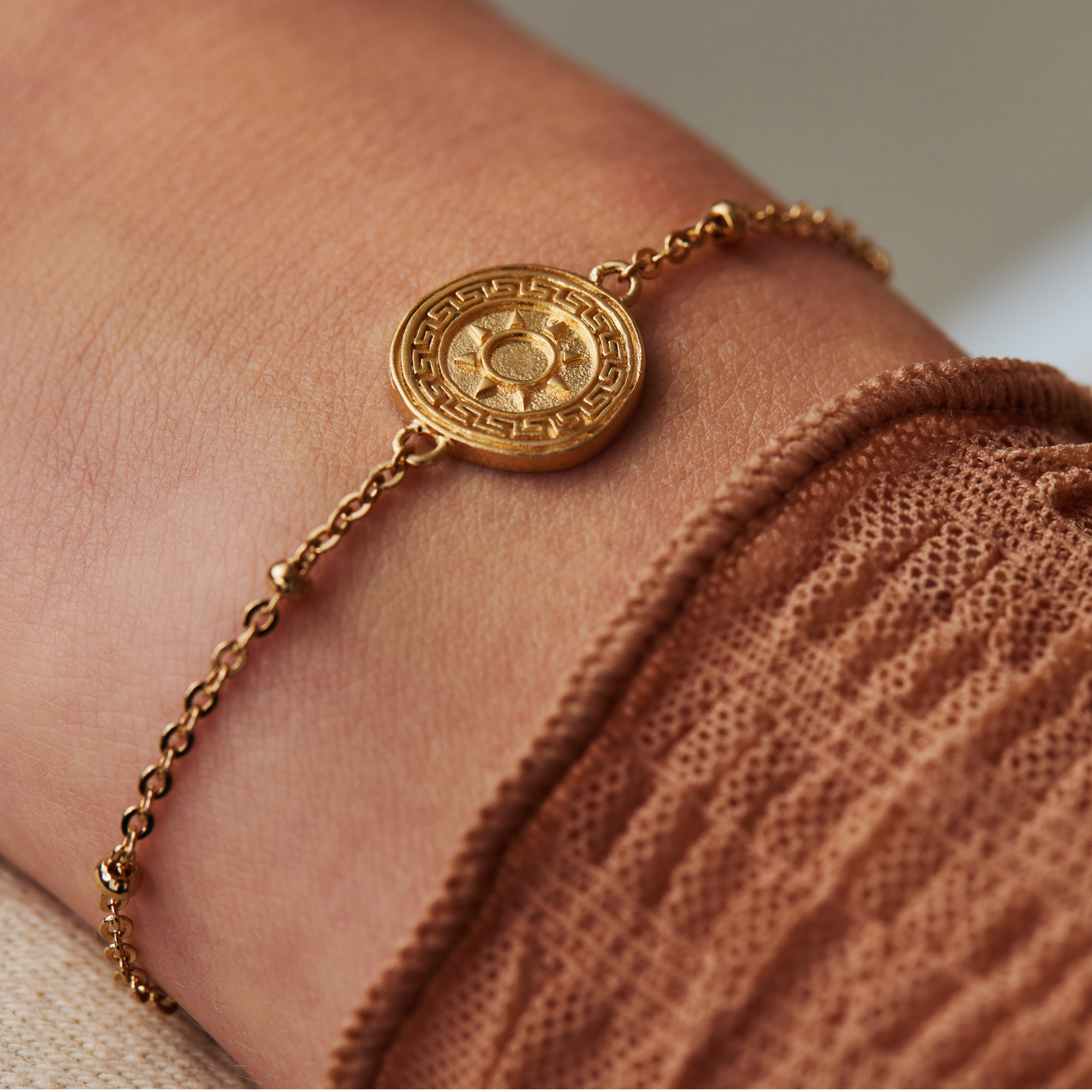 Violet Hamden Athens 925 sterling silver gold colored bracelet with coin and spheres