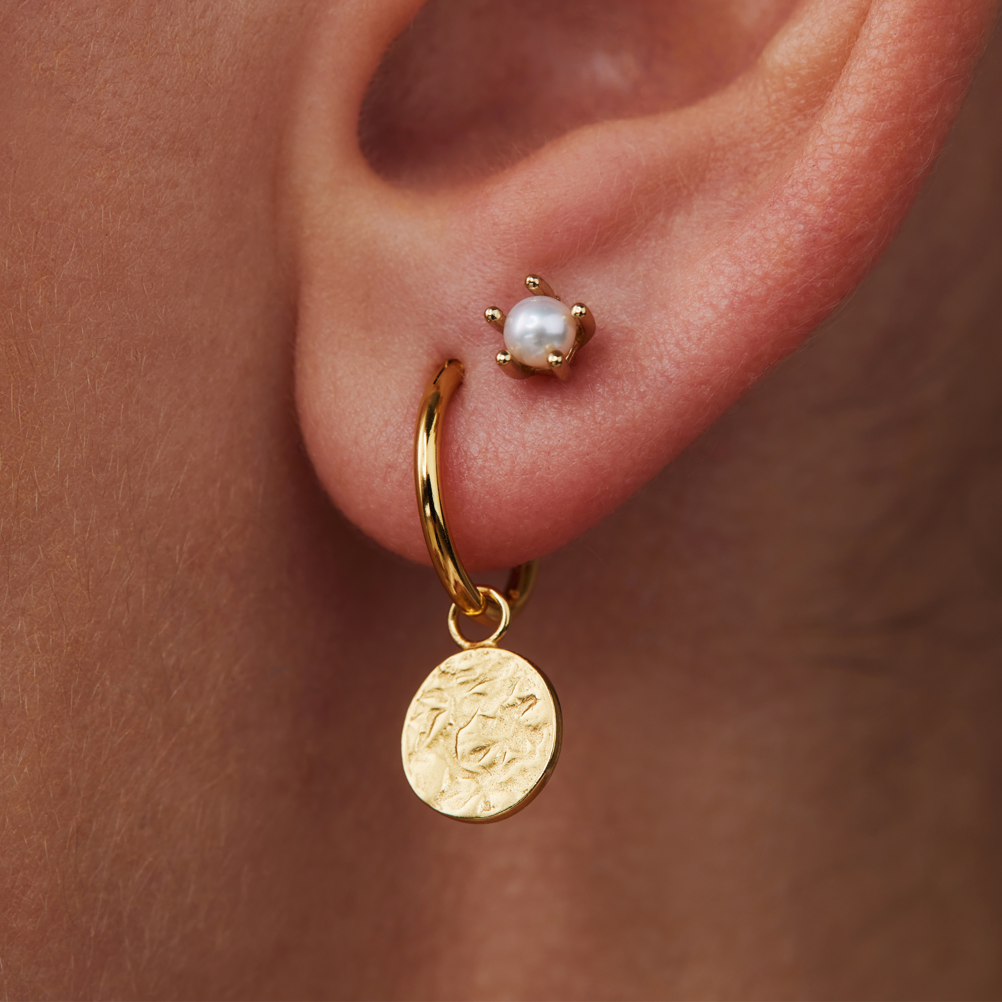 Violet Hamden Luna 925 sterling silver gold colored hoop earrings with coins