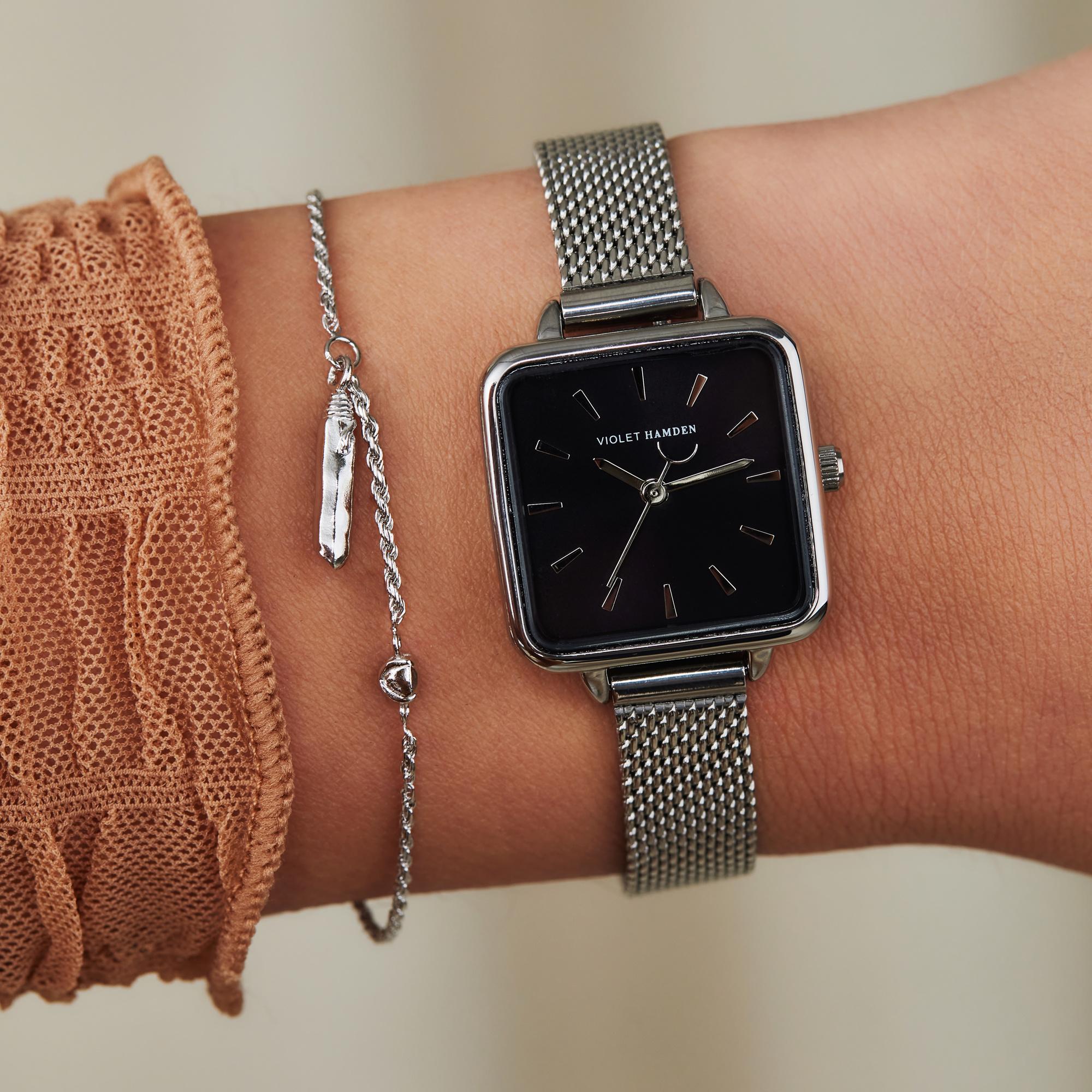 Violet Hamden Sisterhood Mona 925 sterling zilveren armband met staafje en steentje