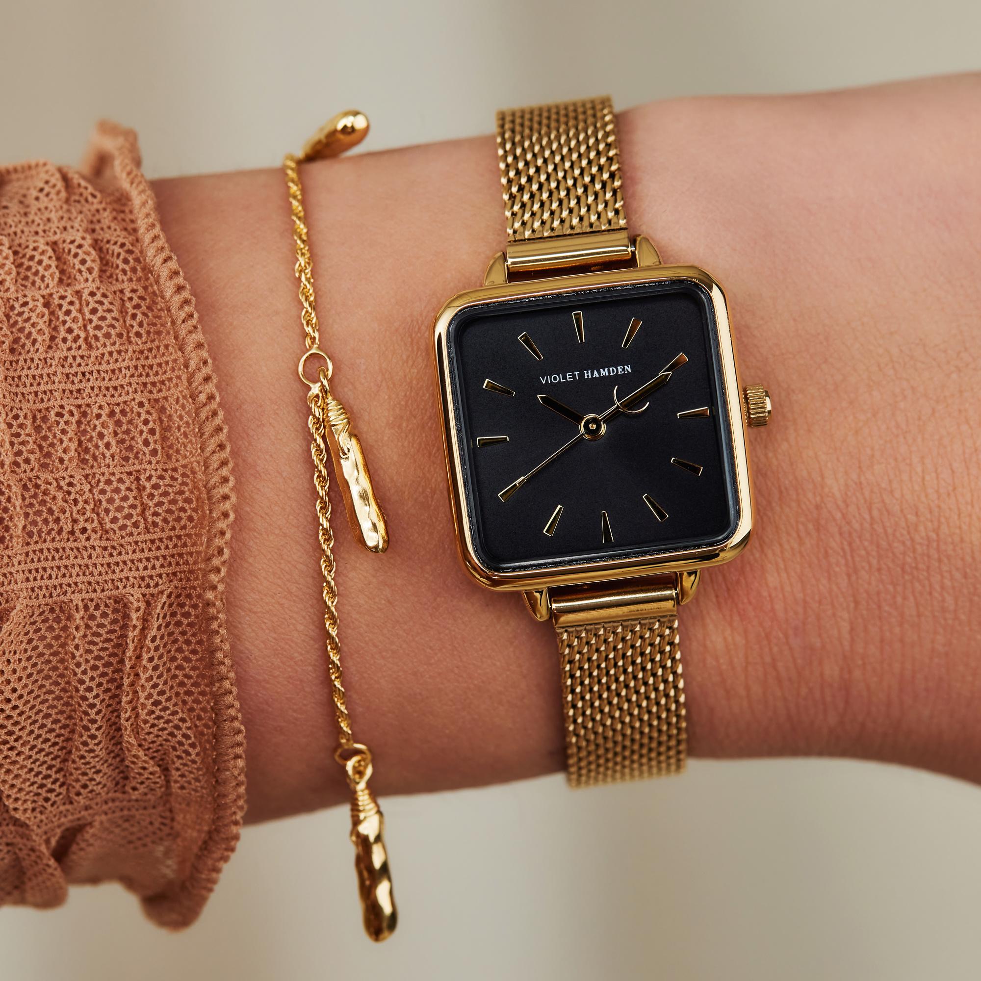 Violet Hamden Sisterhood Mona 925 sterling silver gold colored bracelet with rods