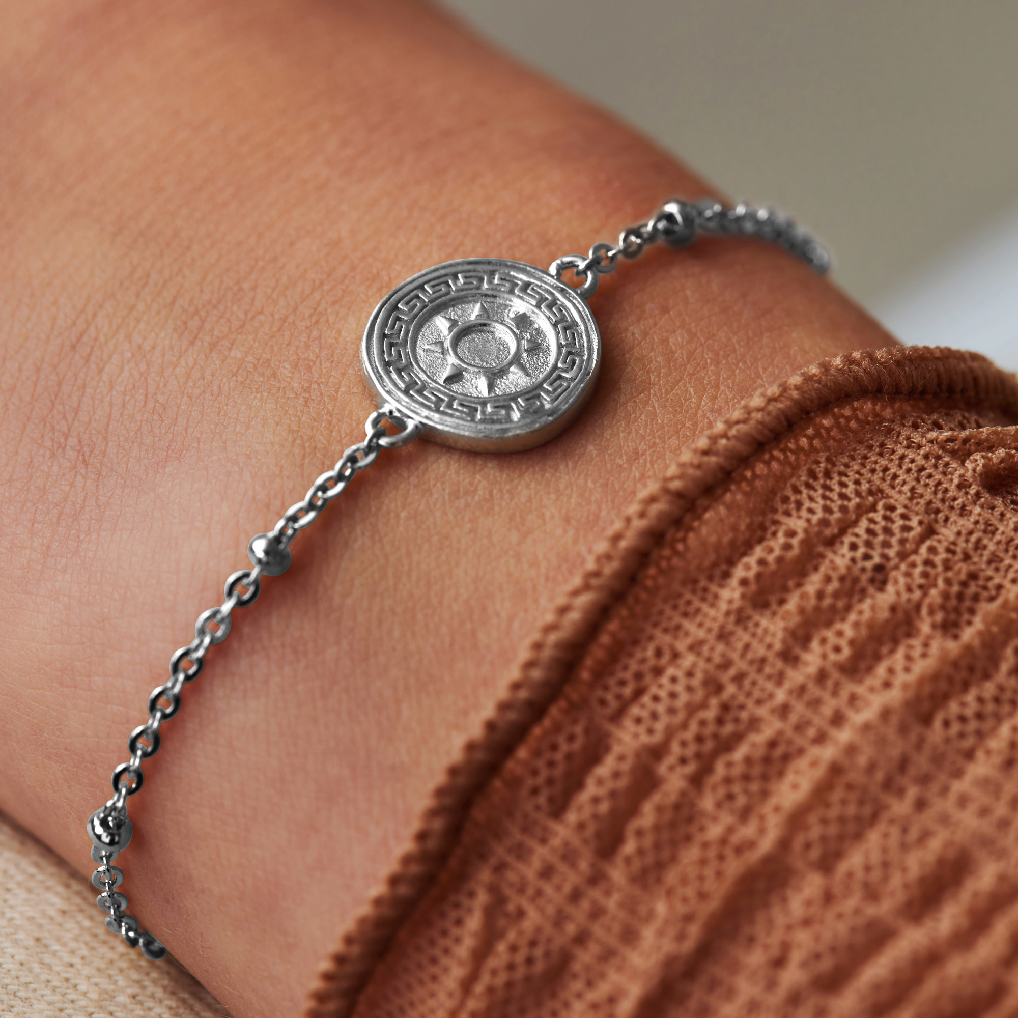 Violet Hamden Athens 925 sterling silver bracelet with coin and spheres