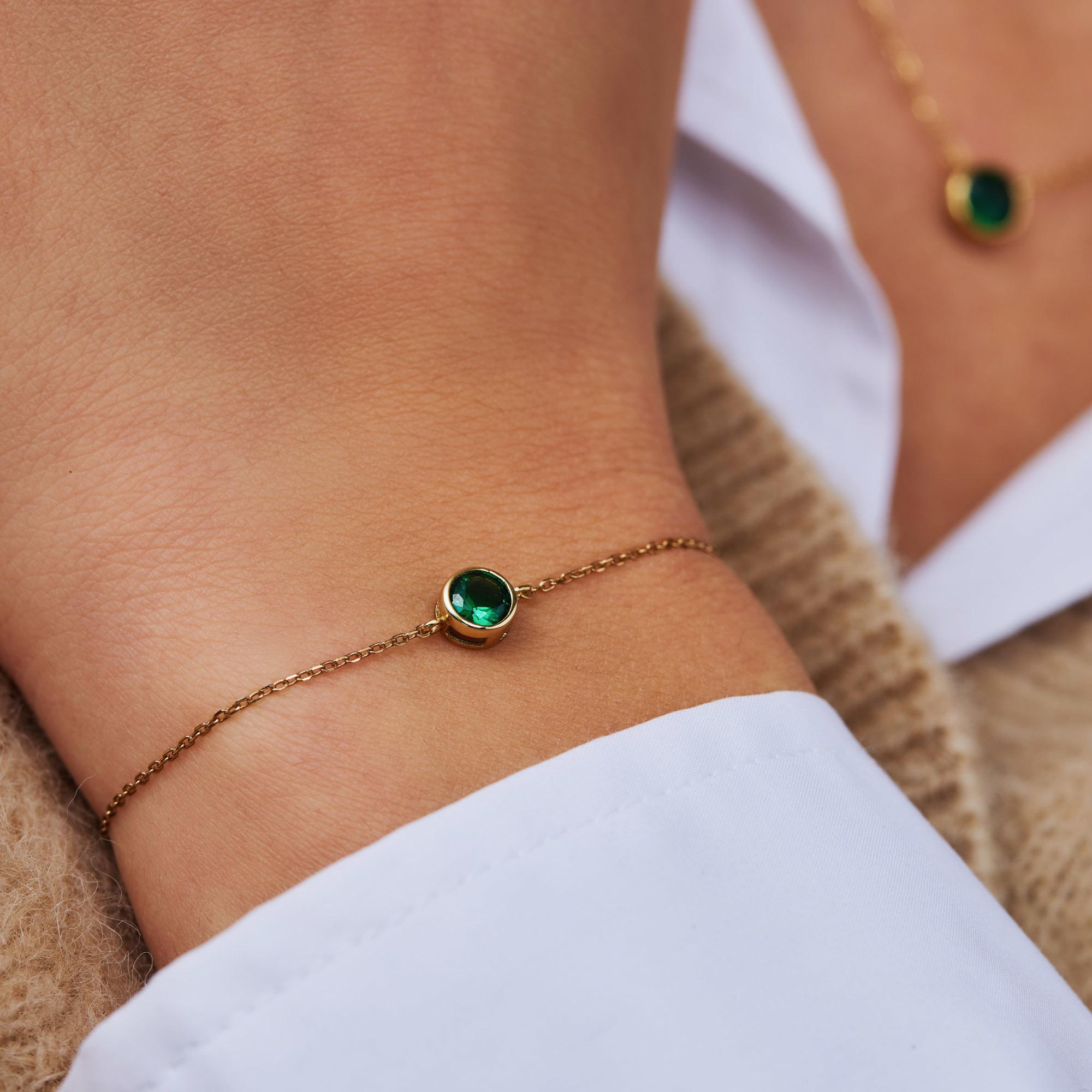 Violet Hamden Venus 925 Sterling Silber goldfarbenes Armband mit Geburtsstein