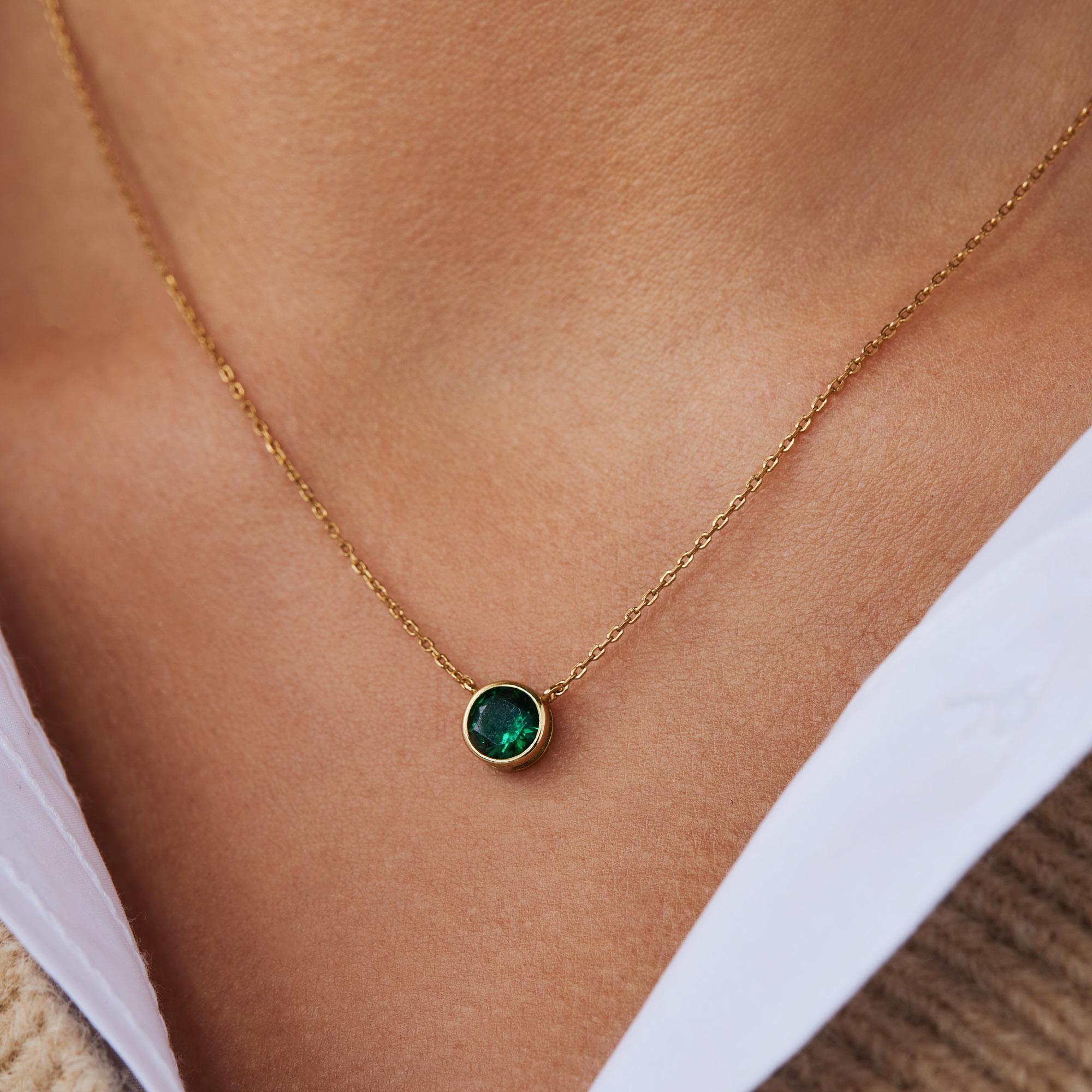 Violet Hamden Venus 925 sterling sølv guldfarvet halskæde med fødselssten