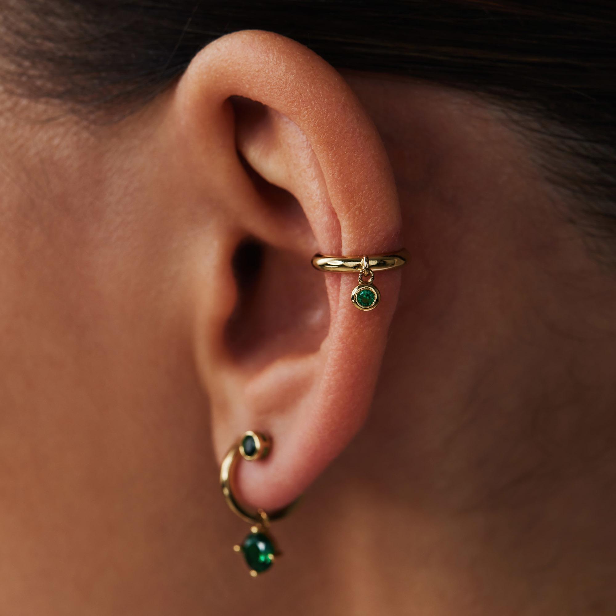 Violet Hamden Venus 925 Sterling Silber goldfarbenes Ear Cuff mit Geburtsstein