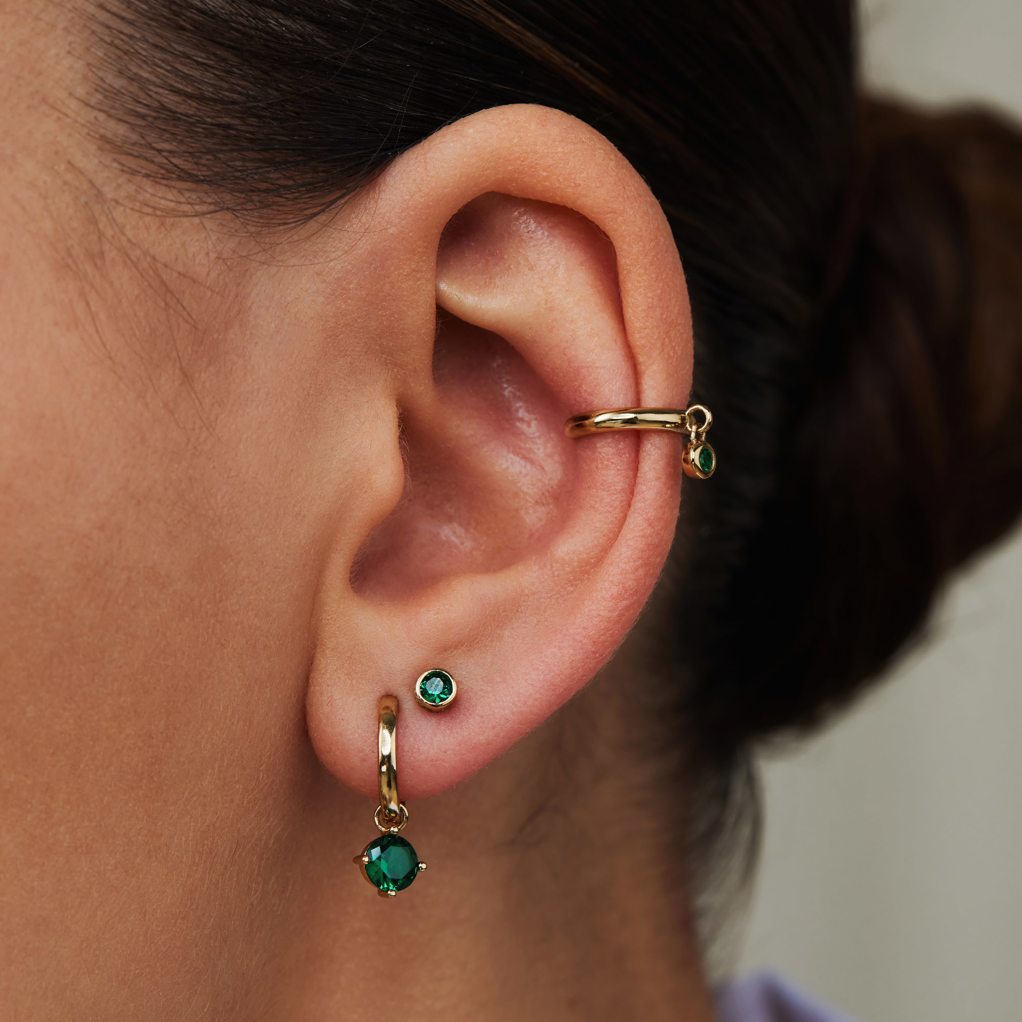 Violet Hamden Venus 925 sterling silver gold colored ear cuff with birthstone