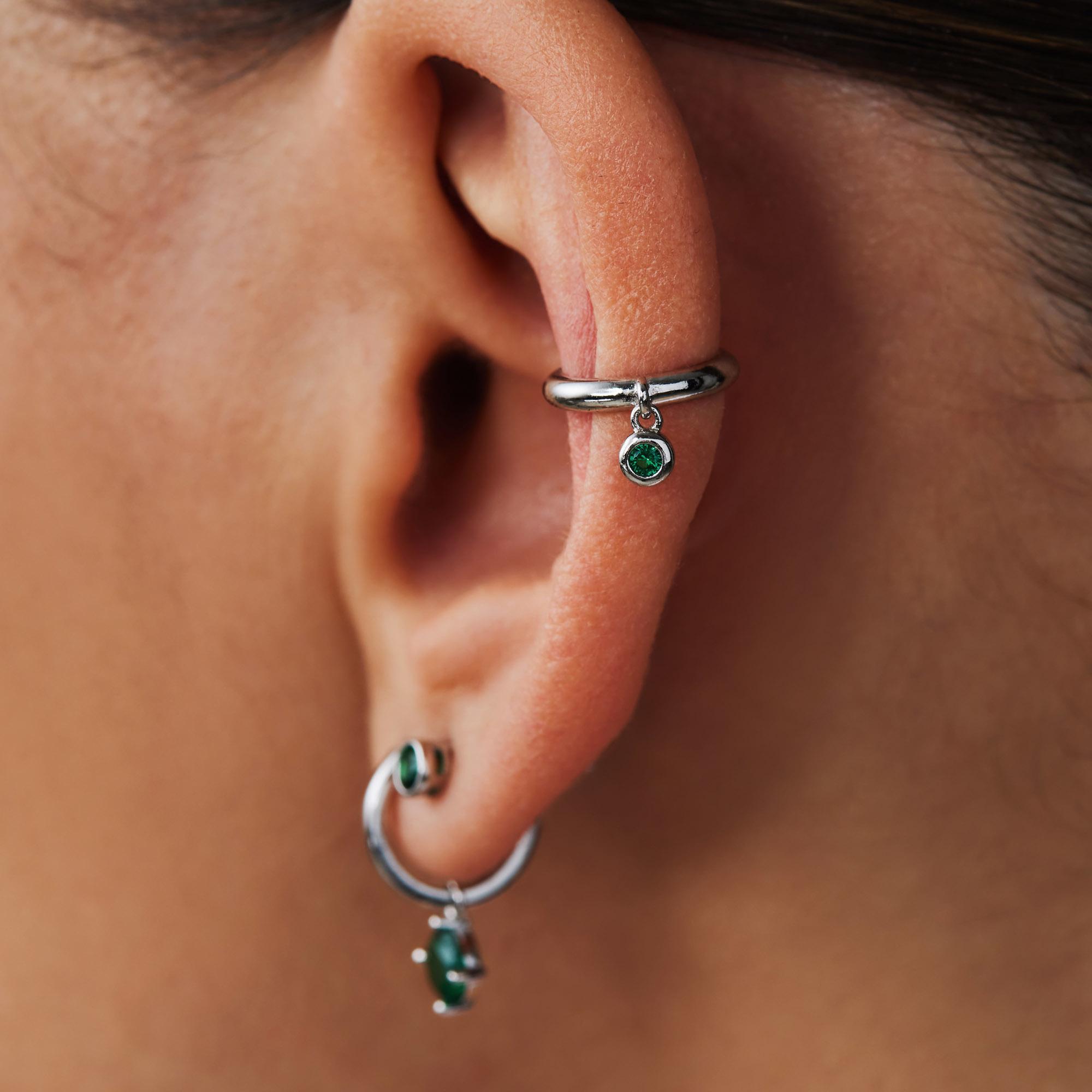 Violet Hamden Venus ear cuff in argento sterling 925 con birthstone