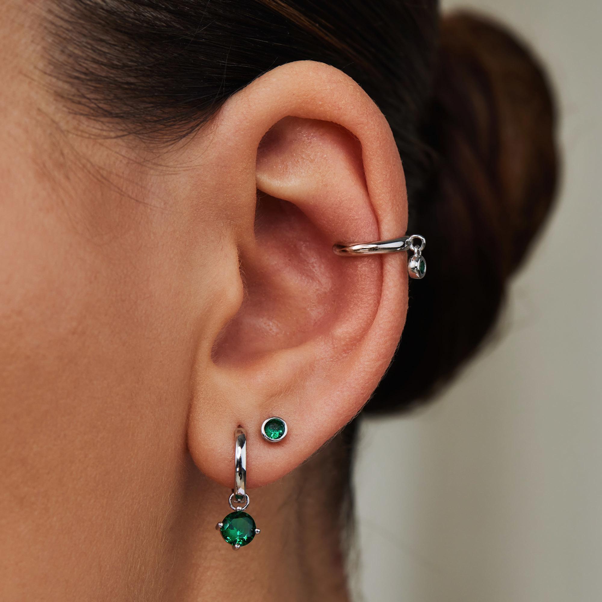Violet Hamden Venus 925 sterling sølv enkelt ear cuff med fødselssten