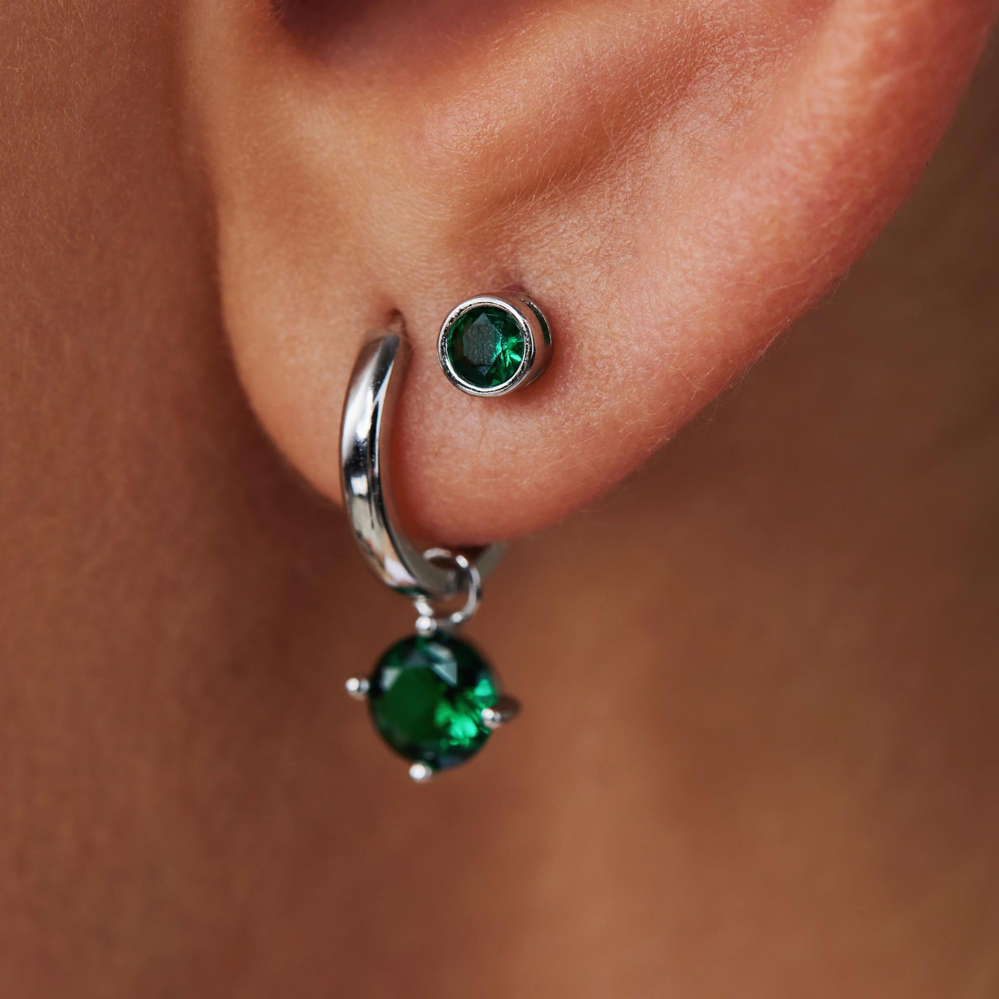 Violet Hamden Venus 925 sterling silver ear studs with birthstone