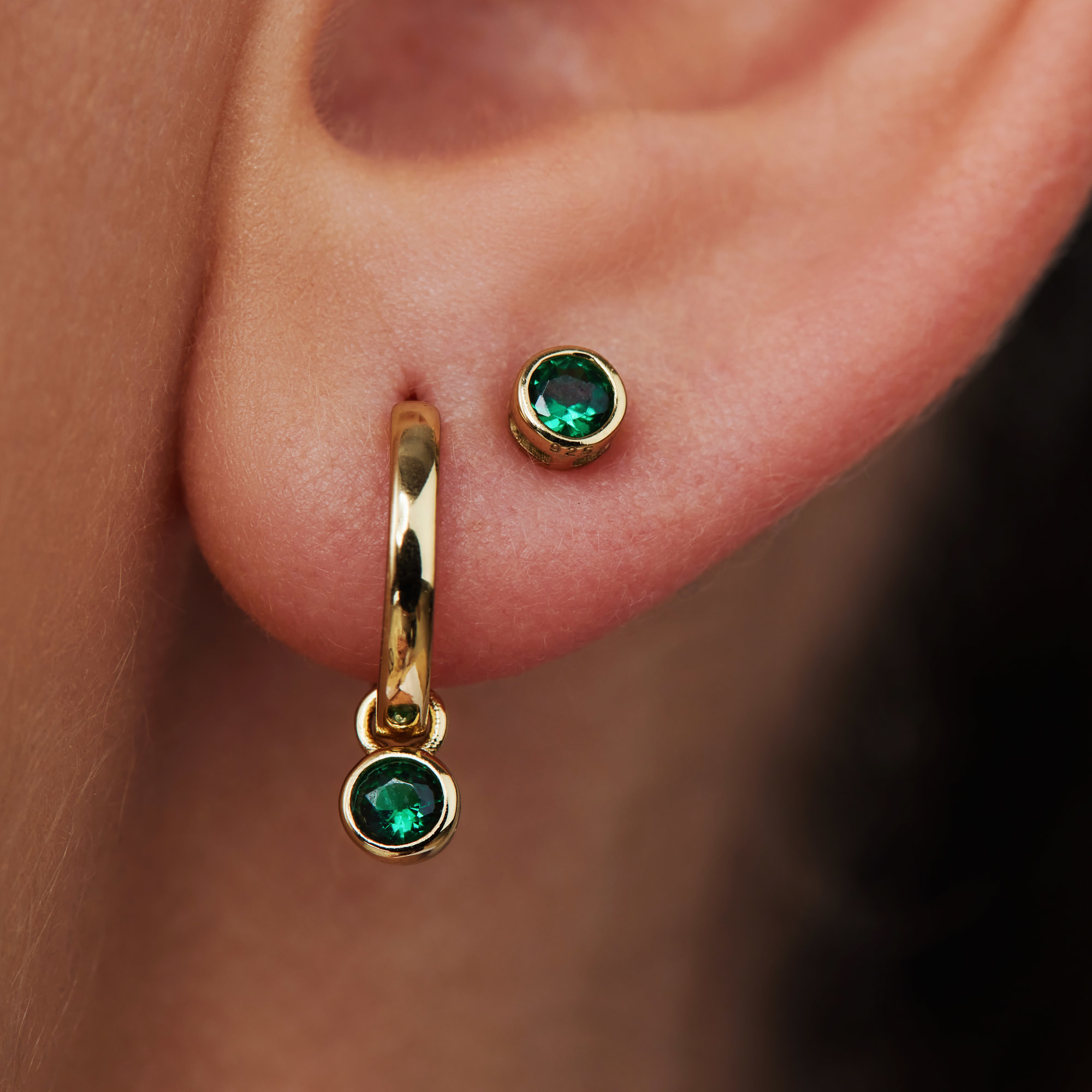 Violet Hamden Venus 925 sterling silver gold colored hoop earrings with birthstone