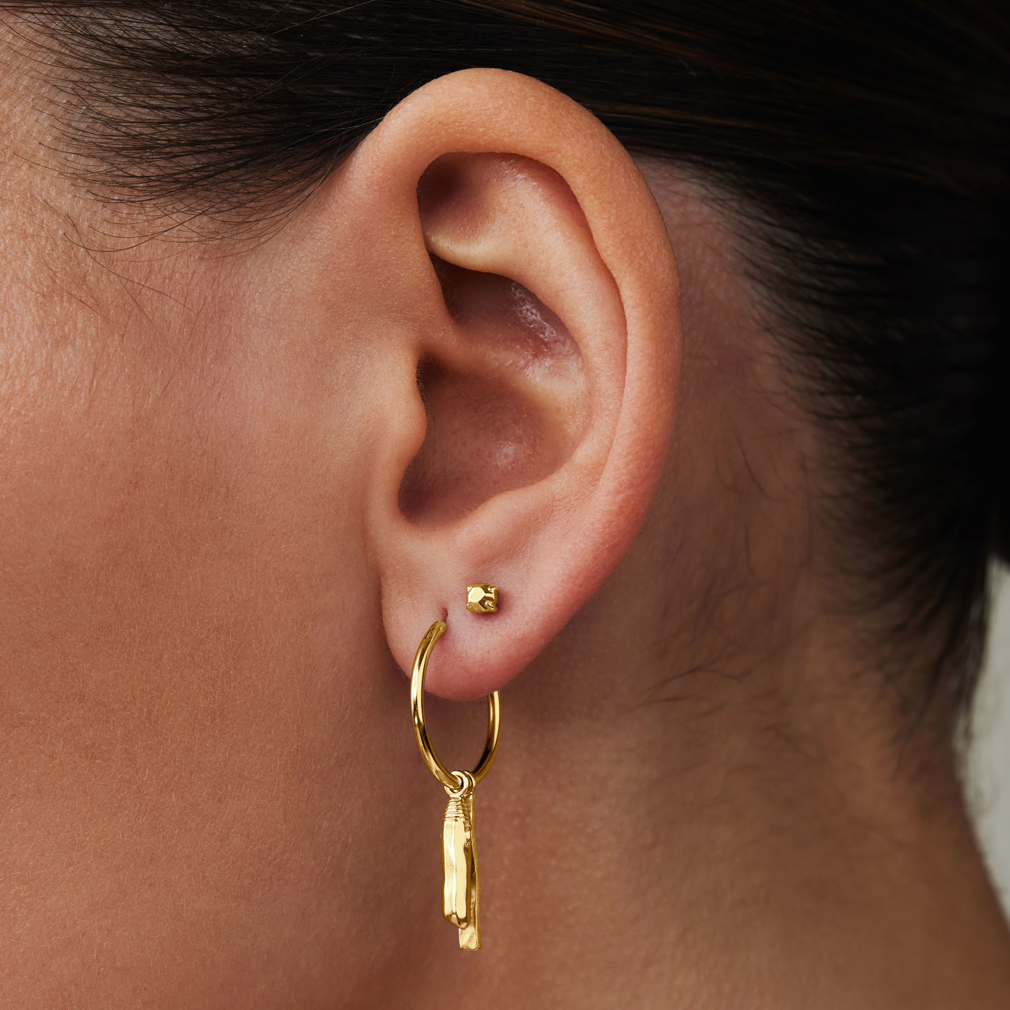 Violet Hamden Sisterhood Mona 925 sterling silver gold colored hoop earrings with rods