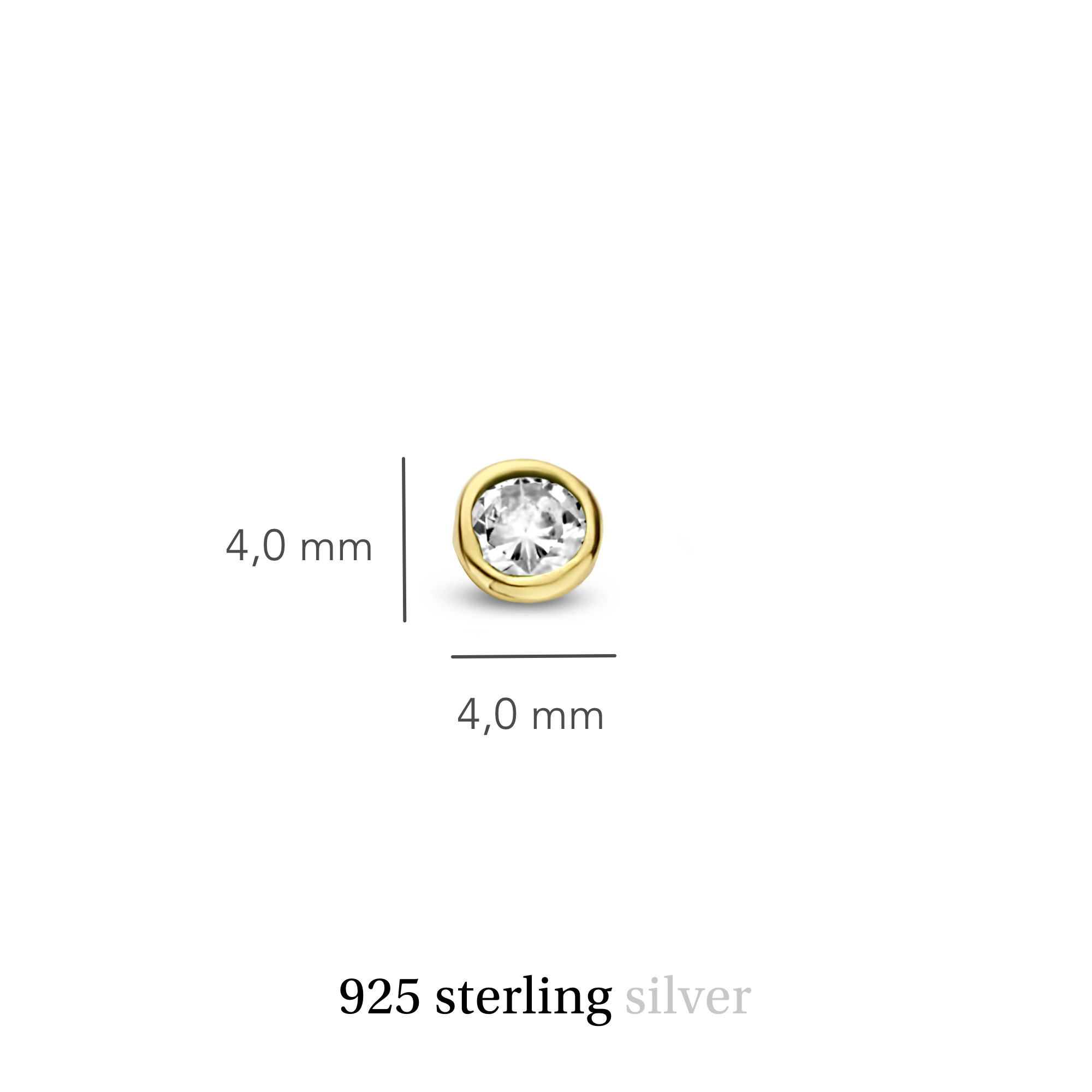 Violet Hamden Venus clous d'oreilles couleur or en argent sterling 925 avec pierre de naissance