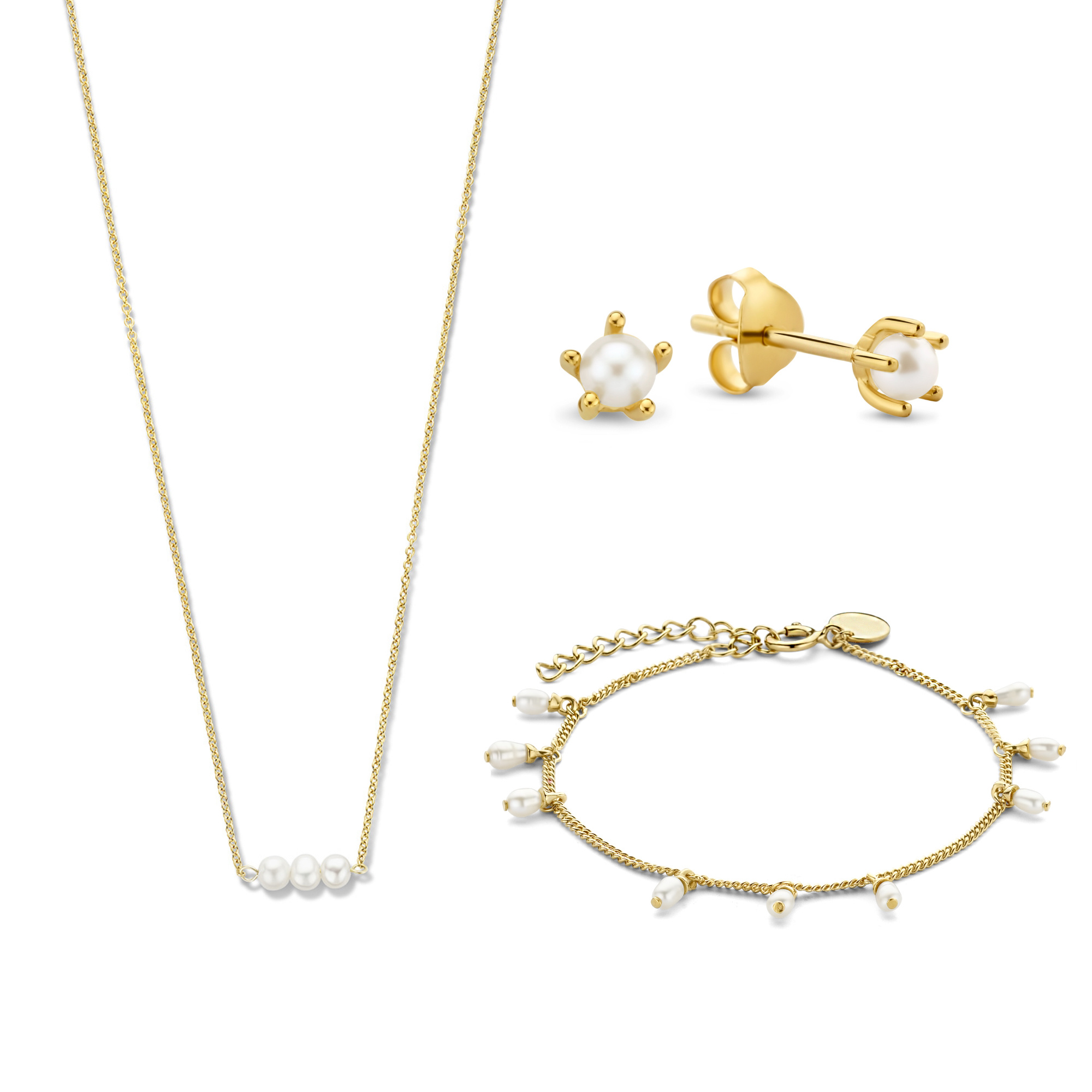 Violet Hamden Violet's Gift 925 sterling silver gold colored set necklace, bracelet and drop earrings with freshwater pearls