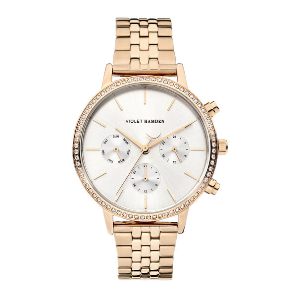 Violet Hamden Sunrise Chrono round ladies watch rose gold coloured and silver coloured