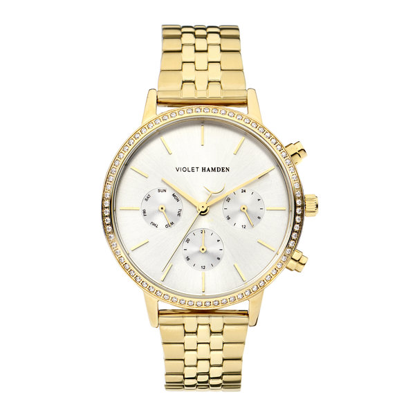 Violet Hamden Sunrise Chrono round ladies watch gold coloured and silver colored