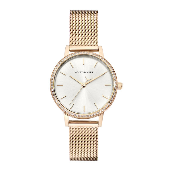 Violet Hamden Sunrise round ladies watch rose gold coloured and silver coloured