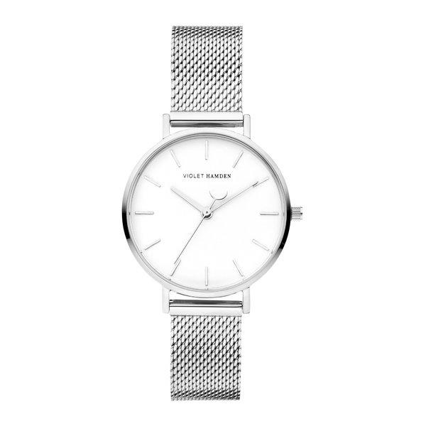 Violet Hamden Day & Night orologio da donna rotondo color argento e bianco