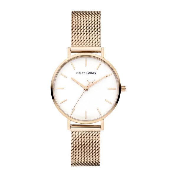 Violet Hamden Day & Night orologio da donna rotondo color oro rosa e bianco