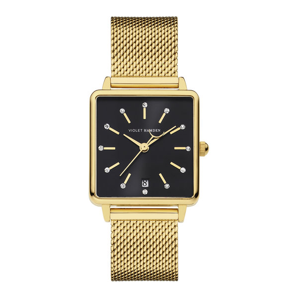 Violet Hamden Dawn square ladies watch gold coloured and black