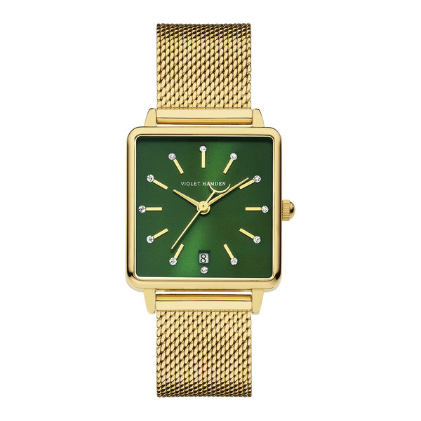 Violet Hamden Dawn square ladies watch gold coloured and green