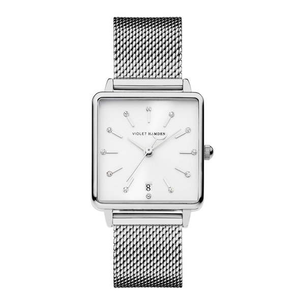 Violet Hamden Dawn square ladies watch silver coloured and white