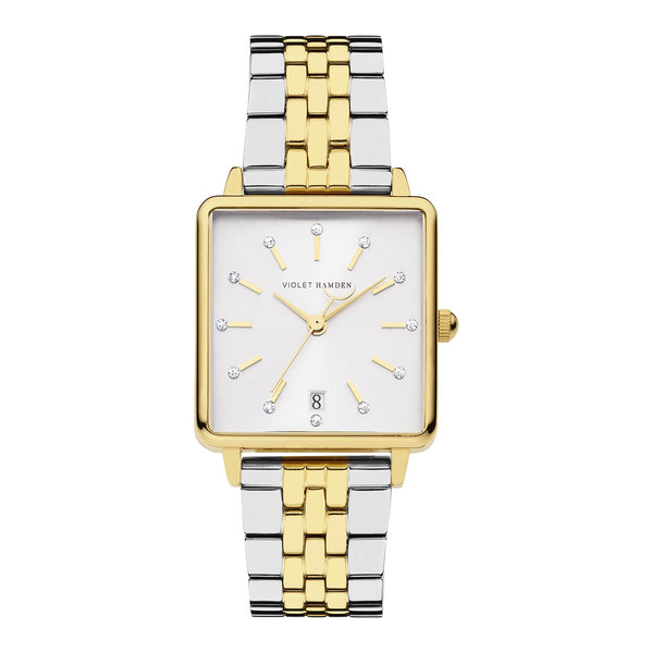 Violet Hamden Dawn square ladies watch gold coloured and silver coloured