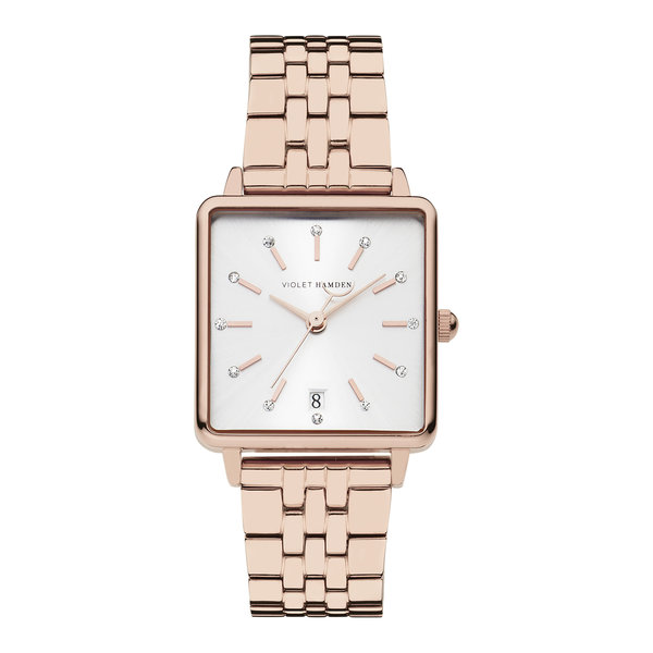 Violet Hamden Dawn square ladies watch rose gold coloured and silver coloured