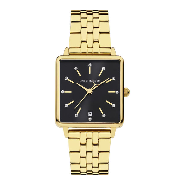 Violet Hamden Dawn square ladies watch gold colored and black