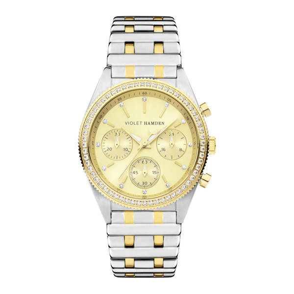 Violet Hamden Cosmos Chrono round ladies watch silver coloured and gold coloured