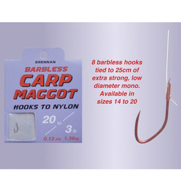 Drennan Drennan Carp Maggot Barbless Hooks to Nylon