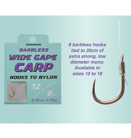 Drennan Drennan Wide Gape Carp Barbless Hooks to Nylon