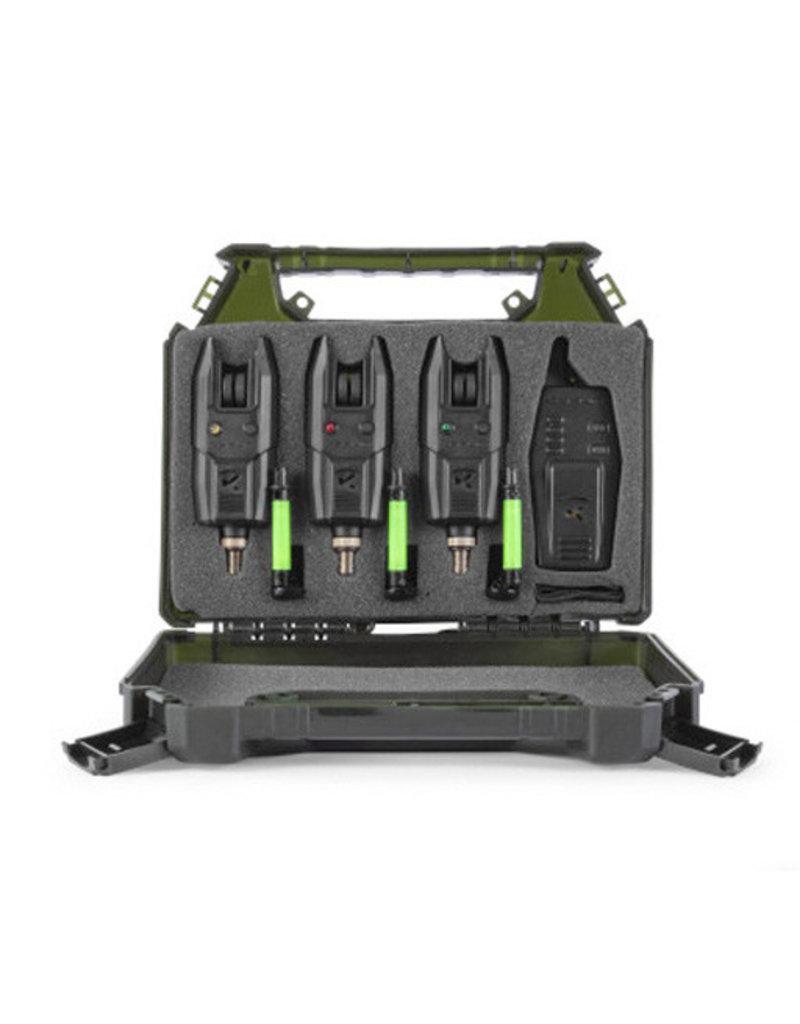 Korum KBI-R 3 Bite Alarm & Reciever Set with Hangers