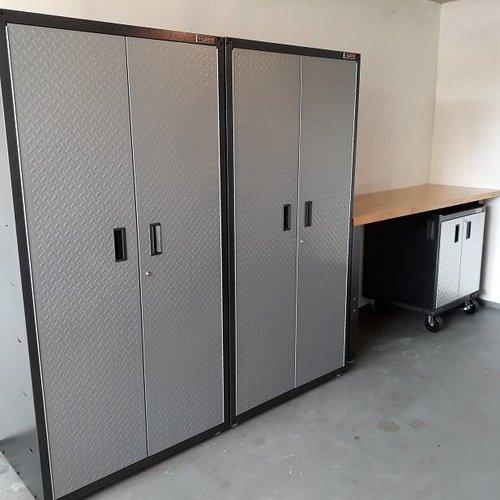 Verstelbare werkbank 183cm met Premium Series onderkast en Jumbo legkasten