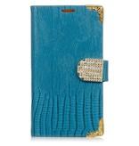 LG Optimus G3 Wallet hoesje Croco Blauw