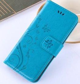 Iphone X Wallet  Leer Blauw