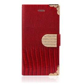 Samsung Galaxy Alpha G850 Wallet Croco Rood Bling