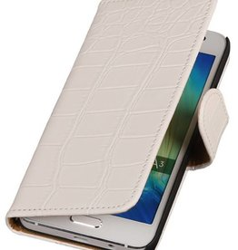 Croco Bookstyle Hoes voor Galaxy A3 Wit