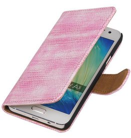 Lizard Bookstyle Hoes voor Galaxy A3 Roze