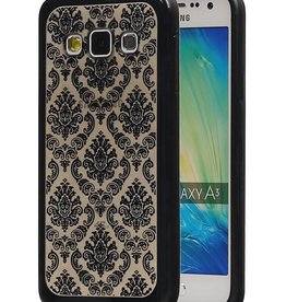TPU Paleis 3D Back Cover for Galaxy A3 Zwart