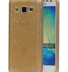 TPU Paleis 3D Back Cover for Galaxy A3 Goud